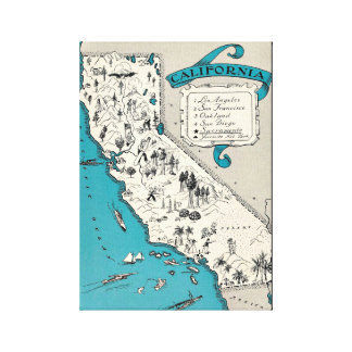Vintage California Map Wrapped Canvas
