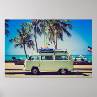 Vintage California Paradise Beach Camper Bus Poster