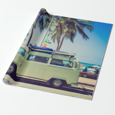 Beach Themed Vintage California Paradise Beach Camper Bus Wrapping Paper
