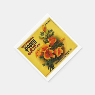 Vintage California Poppy Oranges Paper Napkin