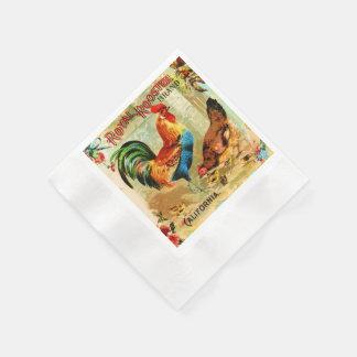Vintage California Royal Rooster Paper Napkin