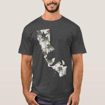 Vintage California State Flag Bear Pattern T-Shirt