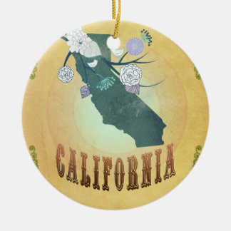 Vintage California State Map- Passion Fruit Yellow Ceramic Ornament