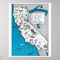 Vintage California State Map Print Coastal Decor