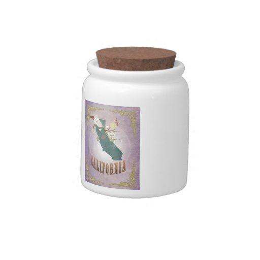 Vintage California State Map- Sweet Lavender Candy Jars