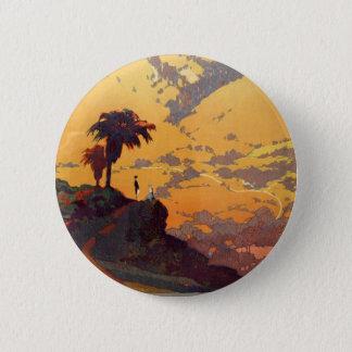 Vintage California Tourism Poster Scene Button