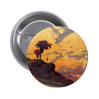 Vintage California Tourism Poster Scene Pinback Button