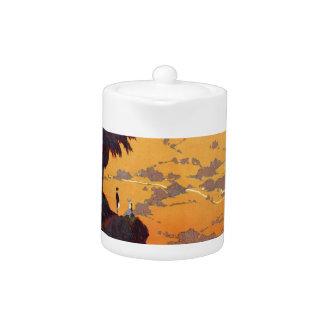 Vintage California Tourism Poster Scene Teapot