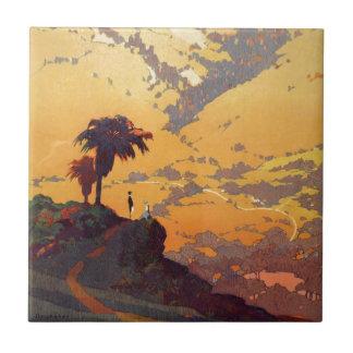 Vintage California Tourism Poster Scene Ceramic Tile