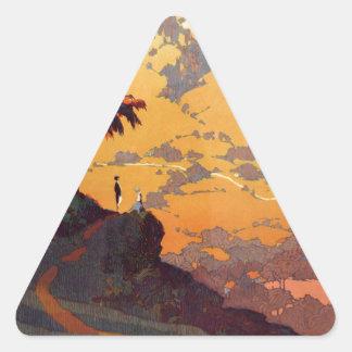 Vintage California Tourism Poster Scene Triangle Sticker