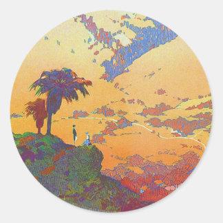Vintage California Travel Classic Round Sticker