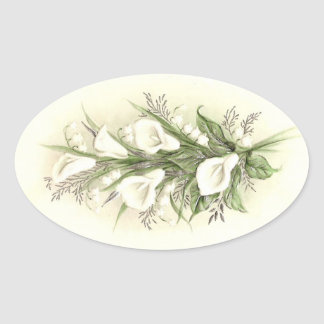 Vintage Calla Lilies Oval Sticker