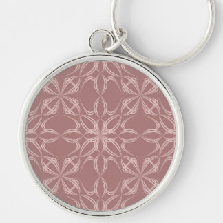 Vintage calligraphic pattern Silver-Colored round keychain