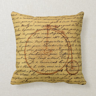 Vintage Calligraphy and Retro bicycle Throw Pillow