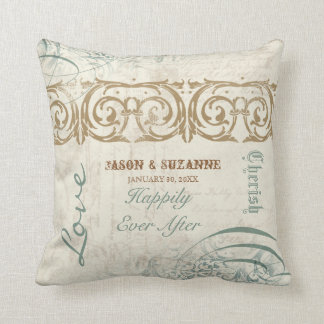 Vintage Calligraphy Flourish Swirl Etched Collage Pillows