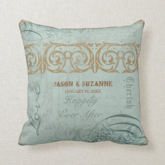 Vintage Calligraphy Flourish Swirl Etched Collage Throw Pillow
