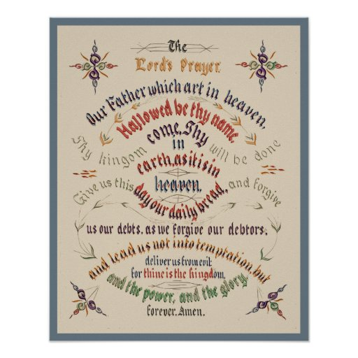 Vintage Calligraphy Lords Prayer 1889 Posters