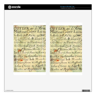 Vintage Calligraphy script on Parchment Old Ad Skins For Kindle Fire