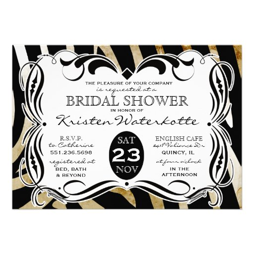 Vintage Calligraphy Zebra Print Bridal Shower Invitation