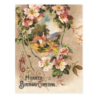 Vintage caluroso del saludo del cumpleaños tarjeta postal