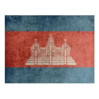 Vintage Cambodia Flag Postcard