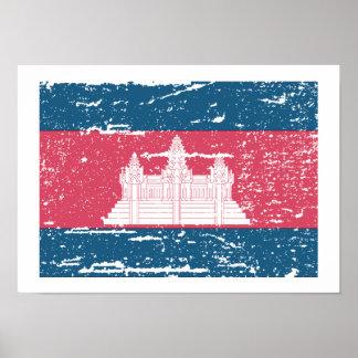 Vintage Cambodia Flag Print