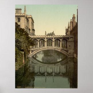 Vintage Cambridge Inglaterra, puente de suspiros Póster