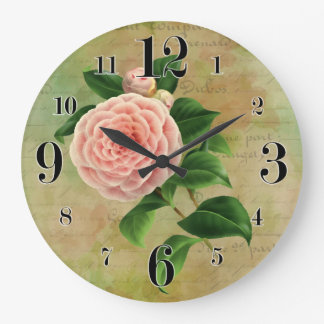 Vintage Camellia French Botanical Large Clock