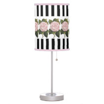 Vintage Camellia Japonica Pretty Pink and White Desk Lamp