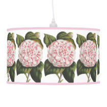 Vintage Camellia Japonica Pretty Pink and White Pendant Lamp