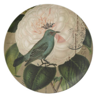 Vintage camellia teal Bird french botanical Dinner Plate