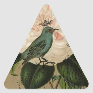 Vintage camellia teal Bird french botanical Triangle Sticker