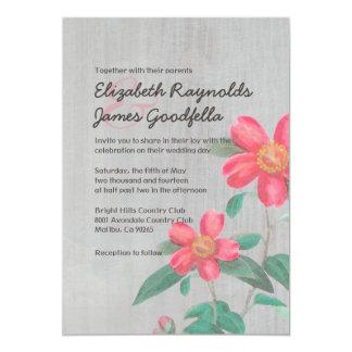 Vintage Camellia Wedding Invitations