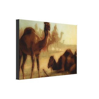 Vintage camels in the desert canvas print