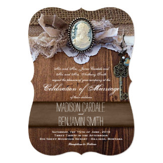 """Vintage Cameo Key Burlap Wood Wedding Invites 5"""" X 7"""" Invitation Card"""