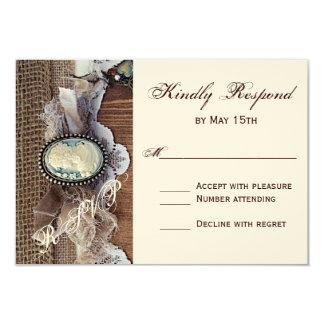 "Vintage Cameo Key Burlap Wood Wedding RSVP Card 3.5"" X 5"" Invitation Card"
