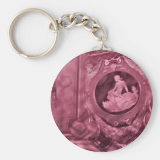 Vintage cameo pink keychain