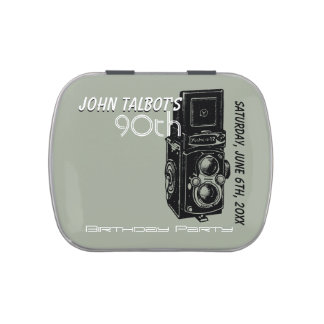 Vintage Camera 90th birthday Thank You Candy T Jelly Belly Tin