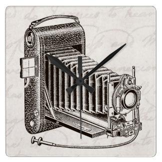 Vintage Camera - Antique Cameras Photography Retro Square Wall Clock