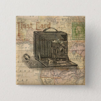 Vintage Camera Antique Map of Africa Collage Pinback Button