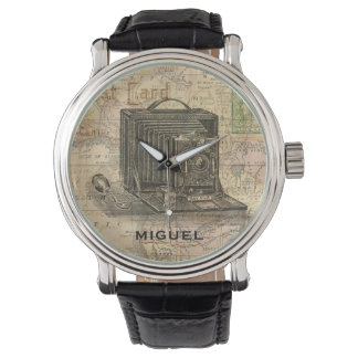 Vintage Camera Antique Map of Africa Personalized Watches