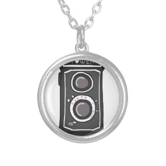 Vintage camera black and gray custom necklace