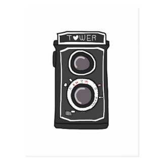 Vintage camera black and gray postcard