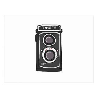 Vintage camera black and gray post card
