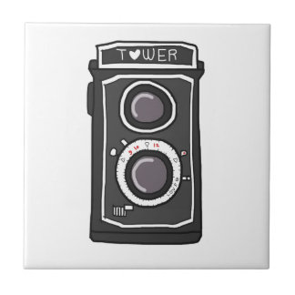 Vintage camera black and gray small square tile