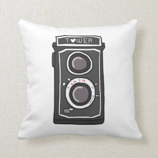 Vintage camera black and gray throw pillow