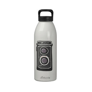 Vintage camera black and gray reusable water bottle