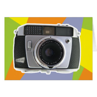Vintage camera bright geometric background card