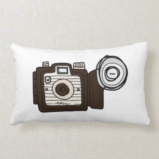 Vintage Camera brown with flash Throw Pillow