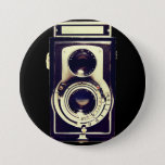 """Vintage camera button<br><div class=""""desc"""">Hello and welcome,  this  design was realized by myself.  The image is the day before camera which I made even more vintage by a lighting effect,  texture...   Choose the background color you want by clicking Customize it - Edit - Background.</div>"""